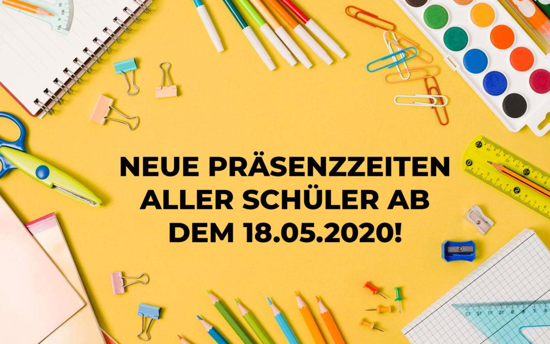 Präsenzunterricht der Klassen 1 bis 6 vom 18.05. bis 24.06.2020